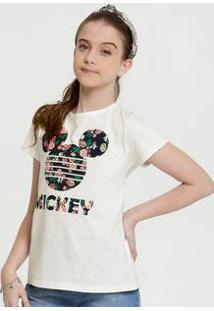 Blusa Juvenil Botonê Estampa Mickey Manga Curta Disney