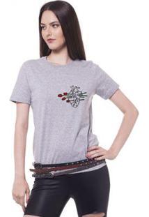 Camiseta Joss Estampada Logo Heart Of Flowers Feminina - Feminino-Mescla