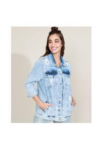 Jaqueta Jeans Feminina Longa Com Bolsos Destroyed Azul Claro