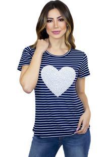 T-Shirt Cavallari Coração Pérolas Bordada A Mão Listrada