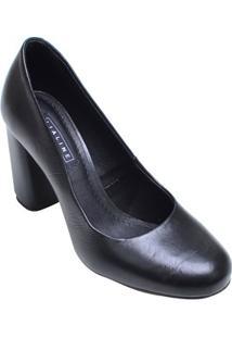 Sapato Feminino Salto Alto Bloco Lia Line Preto