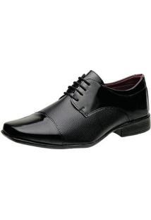 Sapato Social Torrenezzi Liso Verniz Cadarço Masculino - Masculino-Preto