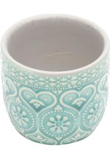 Cachepot Embossed Hearts And Flower- Verde ÁGua & Brancourban