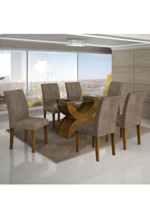 Conjunto Mesa Olimpia New 1,60X0,80M 6 Cadeiras Animale Capuccino - 7337.30.58.13 Leifer