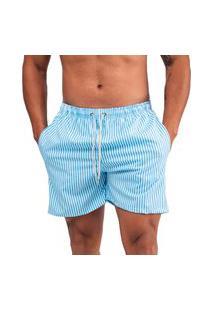 Bermuda Masculina Casual Moda Praia Verão - Azul Listrado