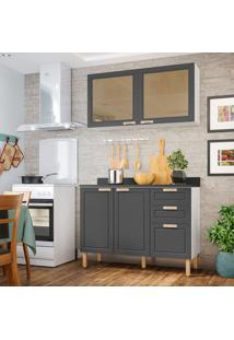 Cozinha Compacta Nevada Vi 4 Pt 3 Gv Grafite E Branca