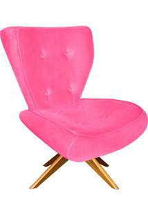Poltrona Decorativa Tathy Suede Rosa Barbie Com Base Giratória De Madeira - D'Rossi