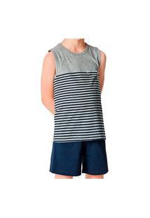 Pijama Infantil Menino Curto Malwee 1000083379 Cinza