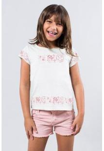 Camiseta Infantil Reserva Mini Barrado Carimbo Feminina - Feminino-Branco