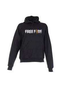 Blusa De Frio Moletom Free Fire Plus Size Preta