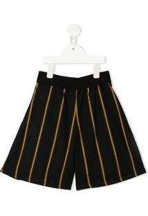Mariuccia Milano Kids Short Cintura Alta Listrado - Preto