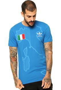 e2f8982a74104 Camiseta Manga Curta Adidas Originals Italy Azul