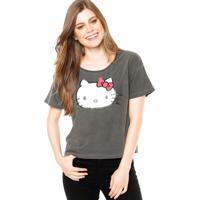 9125aadea3 Blusa Manga Curta Ellus Hello Kitty Cinza