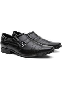 Sapato Social Couro Sola Flexível Conforto Macio Masculino - Masculino-Preto