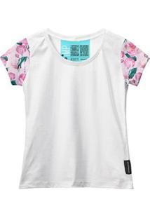 Camiseta Baby Look Feminina Algodão Estampa Flor Estilo Moda - Feminino-Rosa+Branco