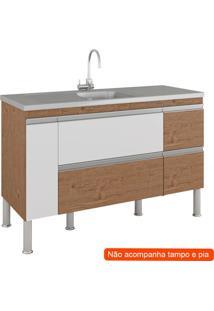 Balcão De Cozinha Prisma 2 Pt 3 Gv Amêndoa E Branco