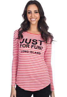 Camiseta Manga Longa Long Island Fun Coral
