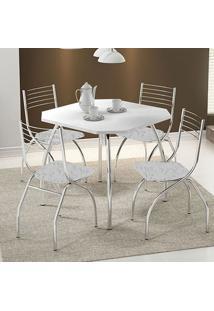 Conjunto Mesa 1504 Branca Cromada Com 4 Cadeiras 146 Fantasia Branco Carraro