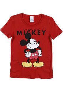Camiseta Disney Manga Curtafeminino - Feminino-Vermelho