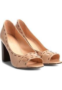 84f4fc04ba55c Peep Toe Couro Shoestock Salto Grosso Pespontos