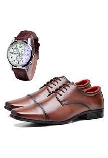 Sapato Social Urbano Com Relógio Dubuy 807Db Marrom