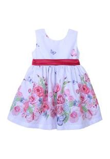 Vestido Infantil Marie Jardim Encantado Branco