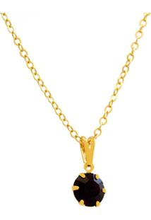 Gargantilha Ponto Luz Horus Import Violeta Ametista - 1060154 Banhada Ouro Amarelo 18 K