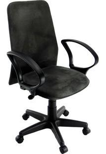 Cadeira De Escritório Tela Diretor Suede Preta