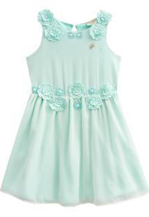 Vestido Festa Infantil Milon Chiffon Verde
