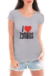 Camiseta Criativa Urbana I Love Zombies - Feminino-Cinza