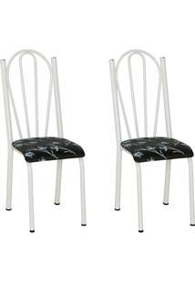 Conjunto 2 Cadeiras 021 Branco E Preto Flor