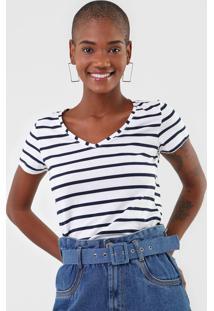 Camiseta Malwee Listrada Branca - Branco - Feminino - Algodã£O - Dafiti