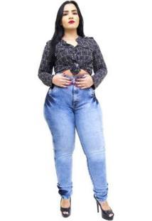 Calça Jeans Latitude Plus Size Cinta Nara Feminina - Feminino-Azul