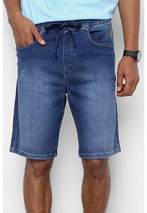 Bermuda Jeans Cavalera Estonada Leaonardo Masculina - Masculino-Azul