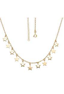Gargantilha Prata Mil Com 6 Estrelas Vazadas E 5 Lixadas Dourado - Dourado - Feminino - Dafiti
