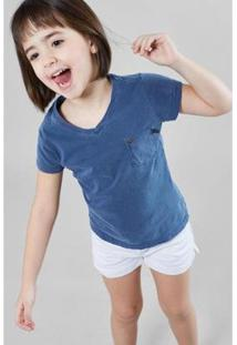 Camiseta V Basica Reserva Mini Feminina - Feminino-Azul Petróleo