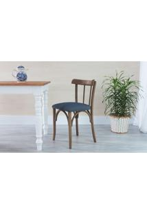 Cadeira Para Sala De Jantar Estofada Justine - Stain Nogueira - Tec.997 Chumbo - 43X47,5X78,5 Cm