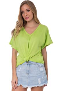 Camiseta Myah Flávia Verde Neon Nó Tricô