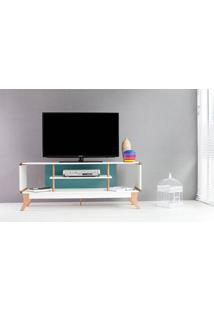 Rack Tv Retrô Vintage Branco/Azul Prestage 2 Nichos 1,4M Mdf Com Pés Madeira Cor Jatobá - 140X40X55 Cm