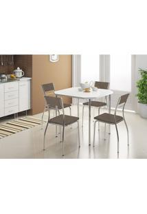 Mesa 1510 Branca Cromada Com 4 Cadeiras 1701 Camurça Conhaque Carraro