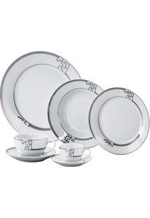 Aparelho De Jantar De Porcelana Super White Geométrico Cinza Wolff – 42 Peças