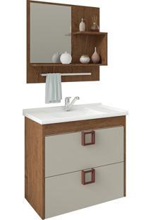 Conjunto Para Banheiro Com 1 Porta Lirio-Mgm - Amendoa / Off White
