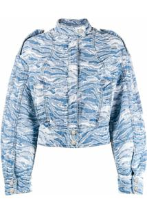 Just Cavalli Jaqueta Bomber Jeans Jacquard Camuflado - Azul