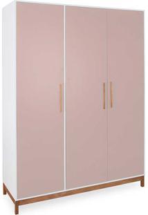 Roupeiro 3 Portas Guarda-Roupa Rosa Design Moderno Mdf E Madeira Maciça Moore - 154,6X53X198,5 Cm