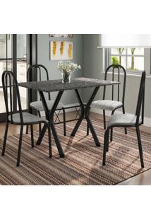 Conjunto De Mesa Miame 110 Cm Com 4 Cadeiras Madri Preto E Vegetale