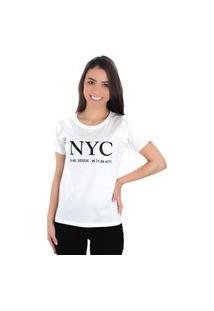 Camiseta Feminina Básica Nyc Rosa