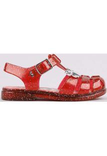 Sandália Infantil Minnie Tiras Cruzadas Com Glitter Vermelho