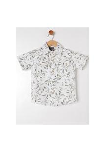 Camisa Manga Curta Infantil Para Menino - Off White