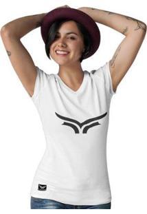 Camiseta Gola V Cellos Bull Classic Premium Feminina - Feminino-Branco