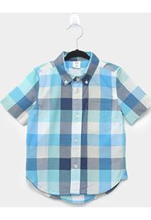 Camisa Infantil Gap Xadrez Manga Curta Masculina - Masculino